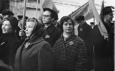 На первомайской демонстрации трудящихся